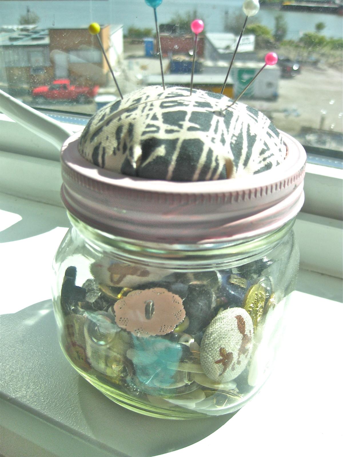 Mason Jar Pin Cushions - different sized jars
